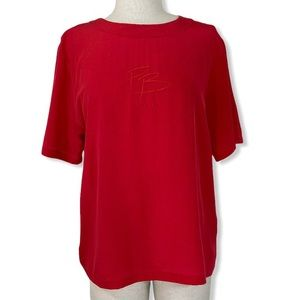 Pierre Balmain red silk top, embroidered size 38